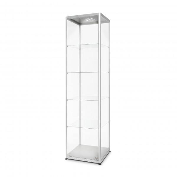 Glasvitrine-50x40x200 cm mit LED-Beleuchtung