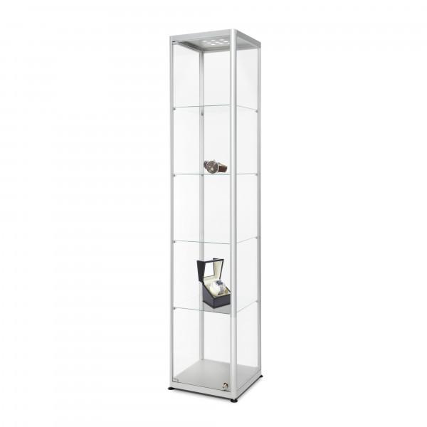 Glasvitrine-40x40x200 cm mit Beleuchtung