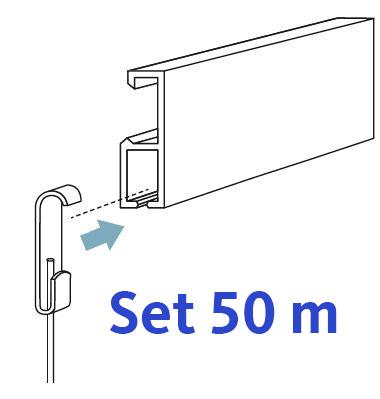 50m set bilderschiene galerieschiene mit haken und seilen. Black Bedroom Furniture Sets. Home Design Ideas